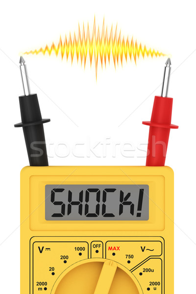 Digital multimeter with SHOCK! word on display and electric flash Stock photo © oneo