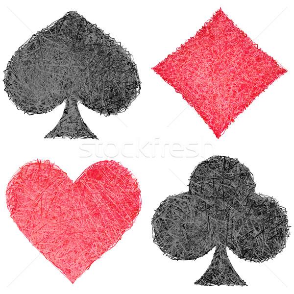 Ingesteld spelen kaart symbolen geïsoleerd witte Stockfoto © oneo