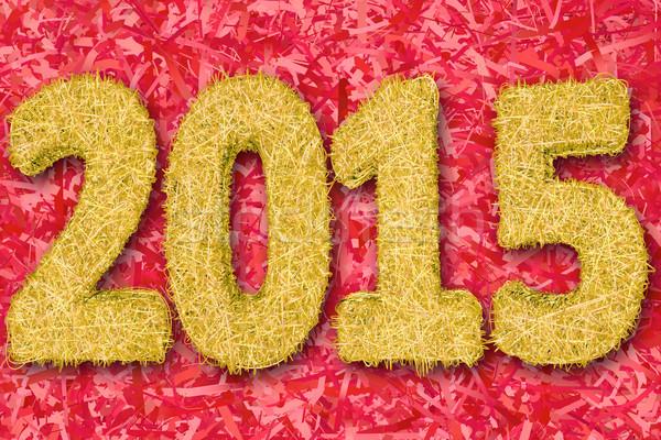 2015 digits composed of golden stripes on red background Stock photo © oneo