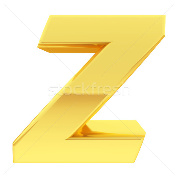 Gold alphabet symbol letter Z with gradient reflections isolated on white Stock photo © oneo