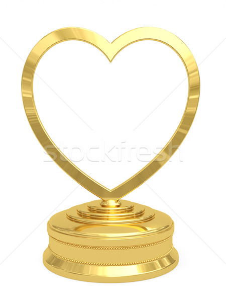 Golden heart shaped prize with blank plate on white Stock photo © oneo