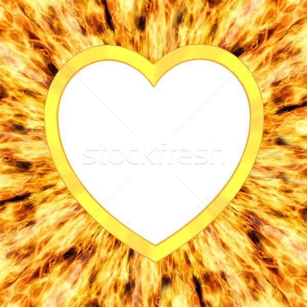 Coeur cadre flamme élevé résolution Photo stock © oneo