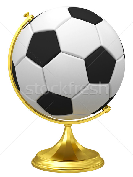 Soccer ball as terrestrial globe on golden stand Stock photo © oneo