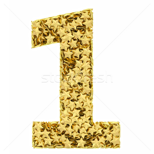 Number 1 composed of golden stars isolated on white Stock photo © oneo