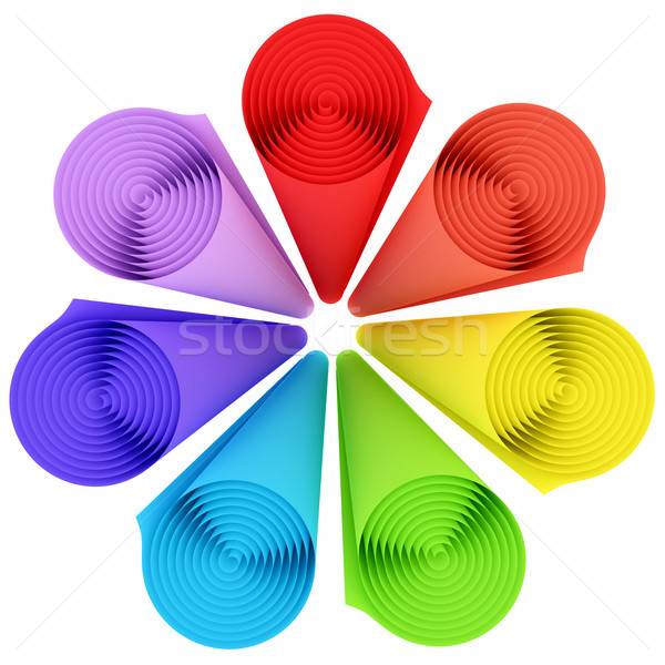 Set of rolls of rainbow color materials isolated on white Stock photo © oneo