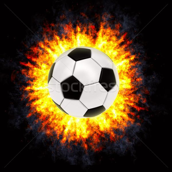 Balón de fútbol potente explosión negro alto Foto stock © oneo
