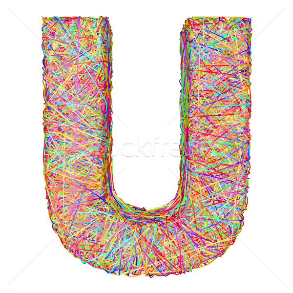 Alphabet symbol letter U composed of colorful striplines Stock photo © oneo