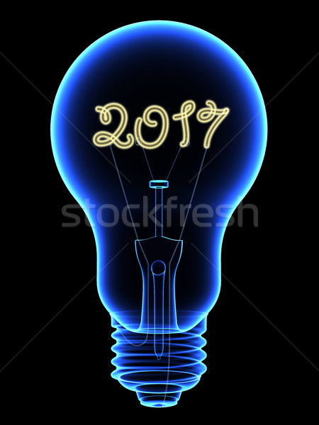 X-Ray lightbulb with sparkling 2017 digits inside isolated on black Stock photo © oneo
