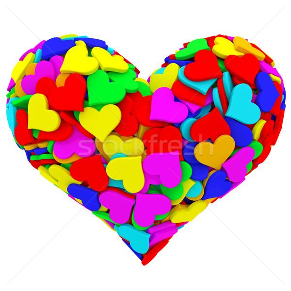 Forme de coeur beaucoup coloré coeurs isolé blanche Photo stock © oneo