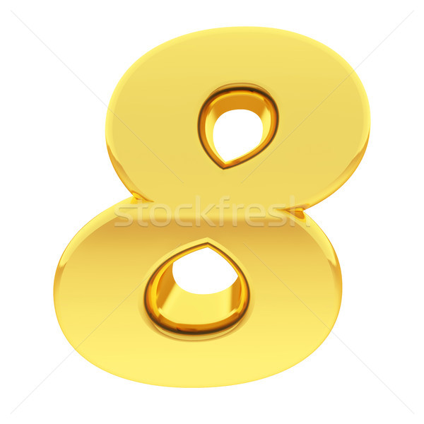 Gold number 8 with gradient reflections isolated on white Stock photo © oneo