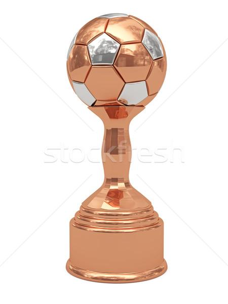 Foto stock: Bronce · balón · de · fútbol · trofeo · aislado · blanco · alto