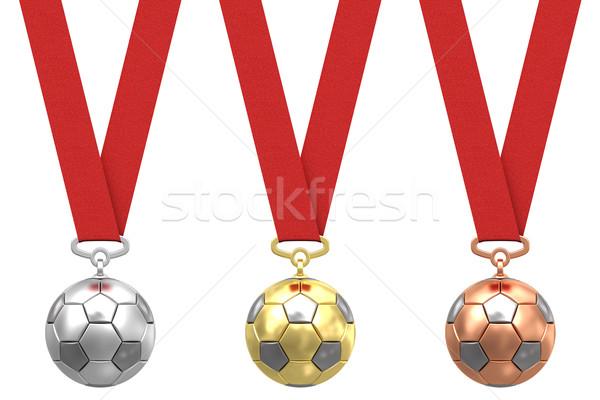Foto stock: Oro · plata · bronce · balón · de · fútbol · rojo
