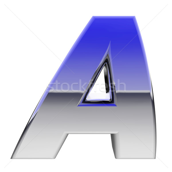 Chrome alphabet symbol letter A with color gradient reflections isolated on white Stock photo © oneo