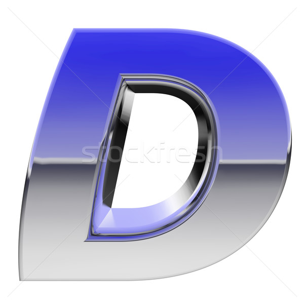 Chrome alphabet symbol letter D with color gradient reflections isolated on white Stock photo © oneo