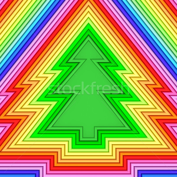 Christmas tree shape composed of colorful metallic pipes Stock photo © oneo
