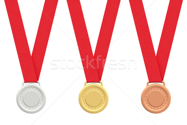 Gold, silver and bronze medals on white  Stock photo © oneo