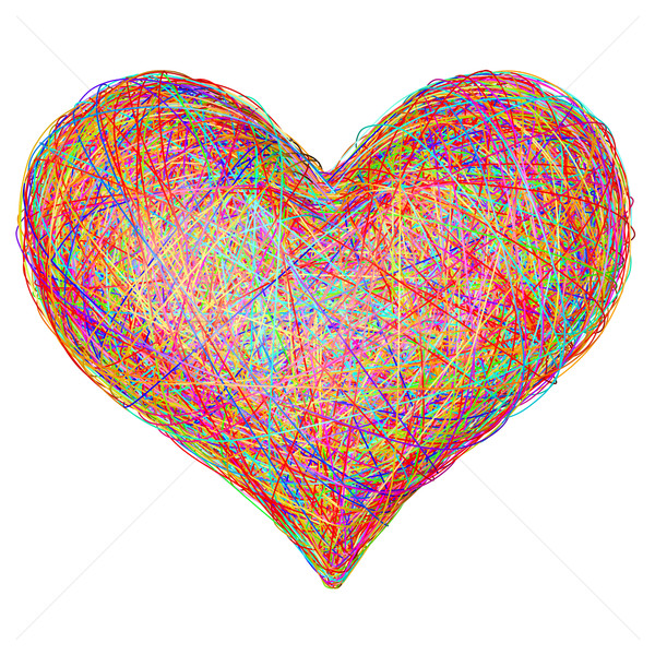 Heart shape composed of colorful striplines Stock photo © oneo