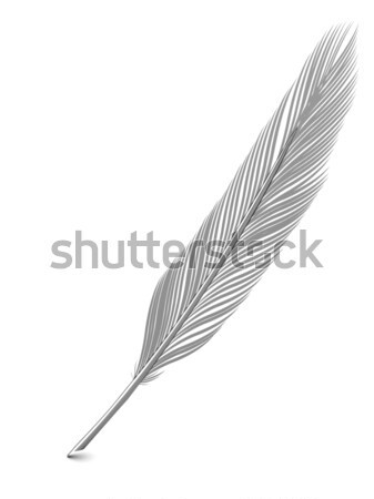 Silver or platinum feather quill over white Stock photo © oneo