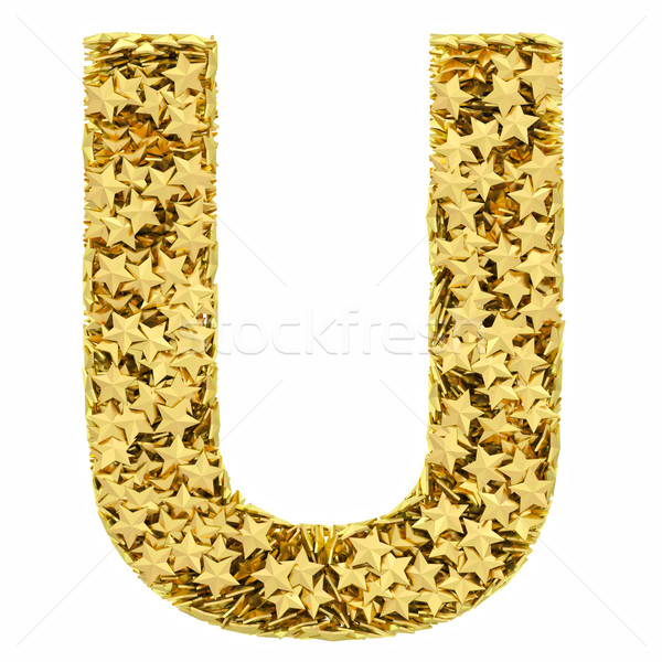 Letter U composed of golden stars isolated on white Stock photo © oneo