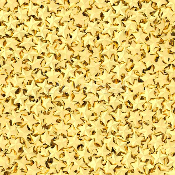 Muitos dourado estrelas alto 3D Foto stock © oneo