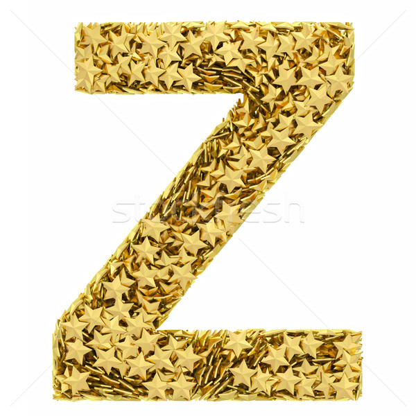 Letter Z composed of golden stars isolated on white Stock photo © oneo