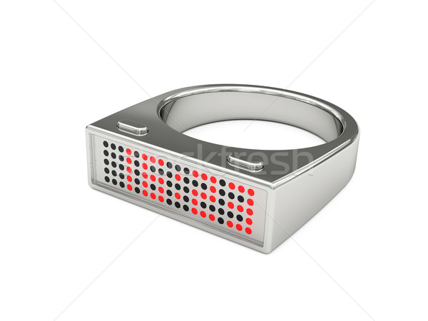 Silver ring with electronic led watch Stock photo © oneo