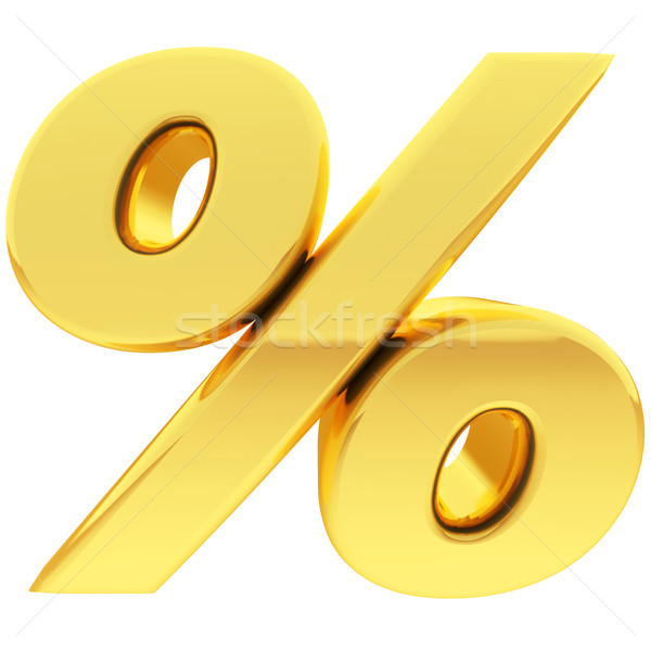 Gold percent sign with gradient reflections isolated on white Stock photo © oneo