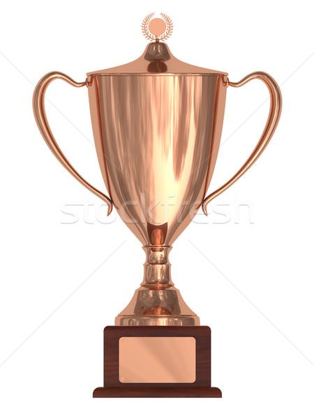 Bronze trophée tasse bois plaque isolé Photo stock © oneo