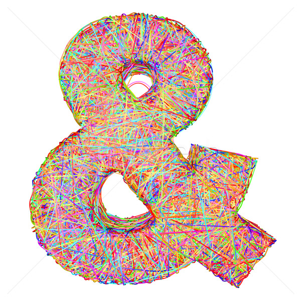 Ampersand sign composed of colorful striplines isolated on white Stock photo © oneo
