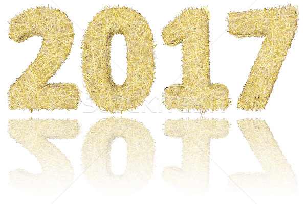 2017 digits composed of golden and silver stripes on glossy white background Stock photo © oneo