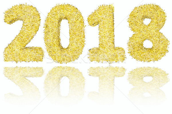 2018 digits composed of golden and silver stripes on glossy white background Stock photo © oneo