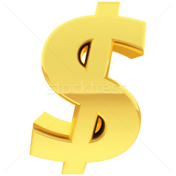 Or signe du dollar gradient réflexions isolé blanche Photo stock © oneo
