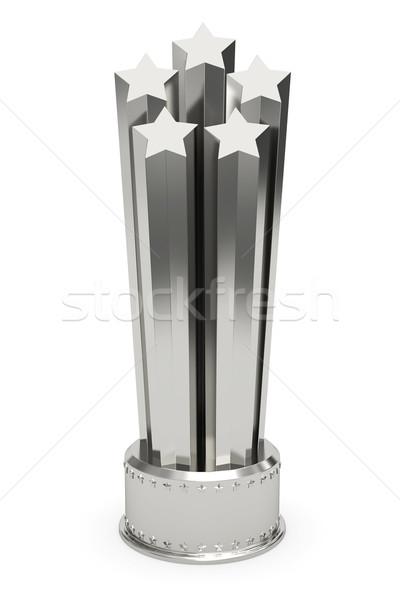 Srebrny gwiazdki nagrody odizolowany biały wysoki Zdjęcia stock © oneo