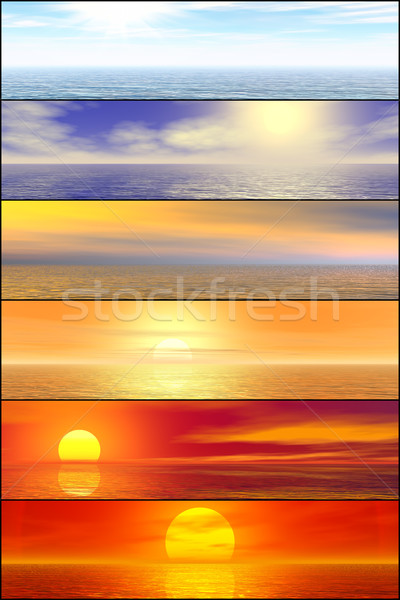 Sunshine seascape header set Stock photo © oneo
