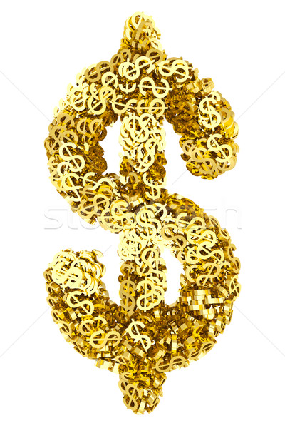 Big dollar sign composed of many golden small dollar signs on white Stock photo © oneo