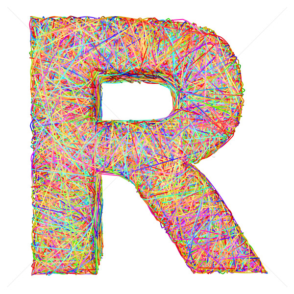 Alphabet symbol letter R composed of colorful striplines Stock photo © oneo