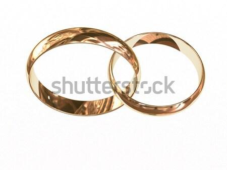 Kettő arany jegygyűrűk fehér együtt magas Stock fotó © oneo