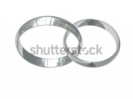 Silver or platinum wedding rings with magic tracery Stock photo © oneo