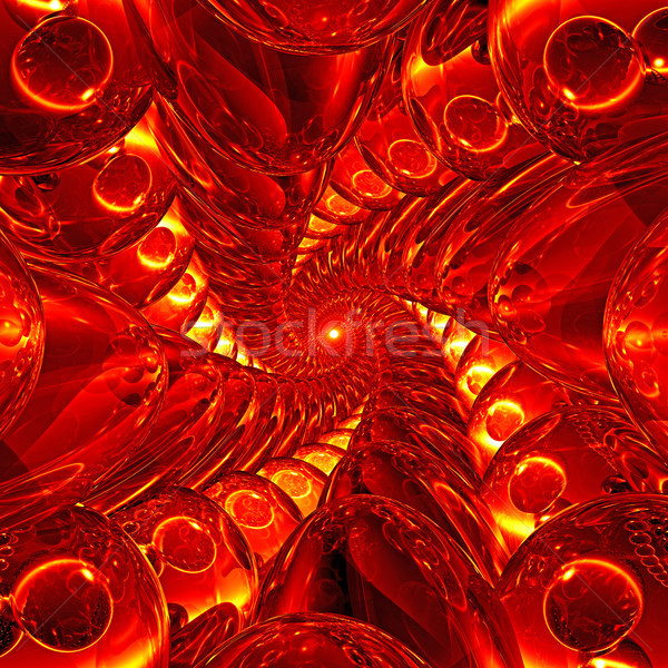 Deep tunnel of red and yellow glass balls Stock photo © oneo
