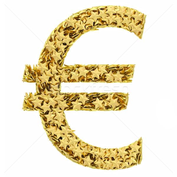 евро знак звезды изолированный белый Сток-фото © oneo
