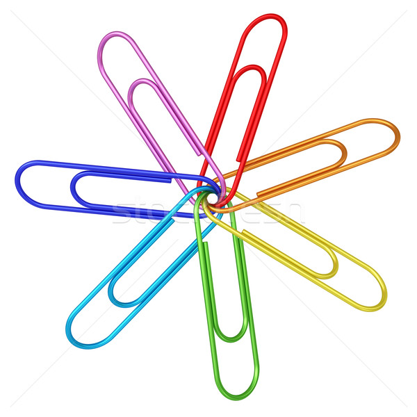 Colorful paper clips chained together on white Stock photo © oneo