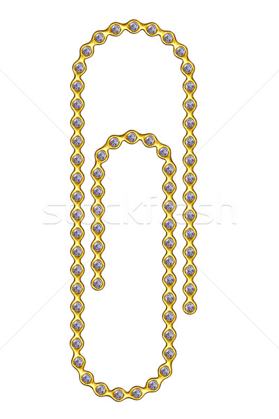 Golden paperclip with diamonds Stock photo © oneo