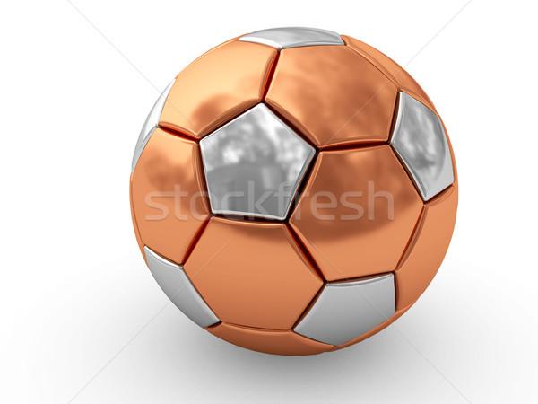 Bronzen voetbal witte gerenderd zachte schaduwen Stockfoto © oneo