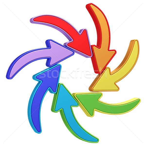 Colorful curved arrows pointing to center on white Stock photo © oneo
