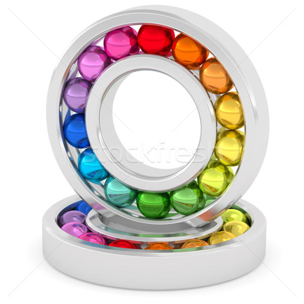 Bearings with colorful balls on white background Stock photo © oneo