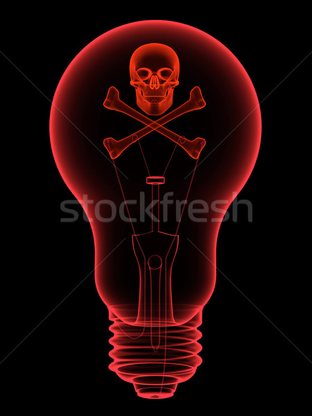 Red lightbulb with skull and crossbones x-ray silhouette Stock photo © oneo
