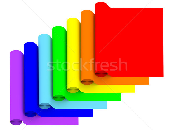 Rolls of rainbow color materials isolated on white Stock photo © oneo