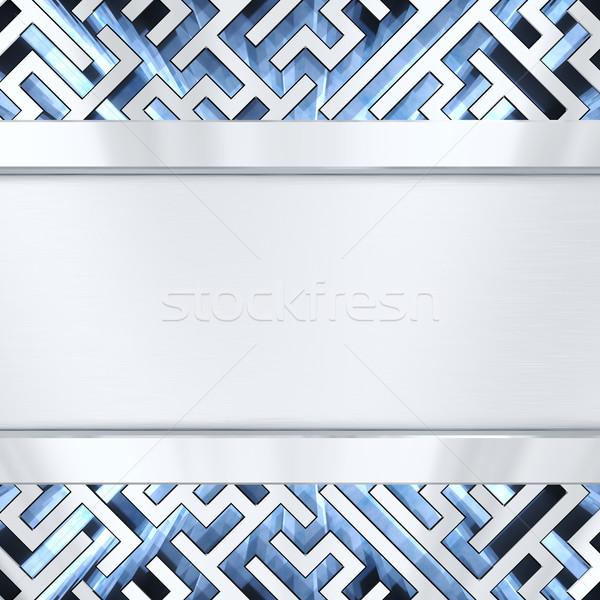 Ezüst tányér labirintus kék fény magas Stock fotó © oneo