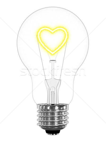 Ampoule coeur symbole à l'intérieur blanche Photo stock © oneo