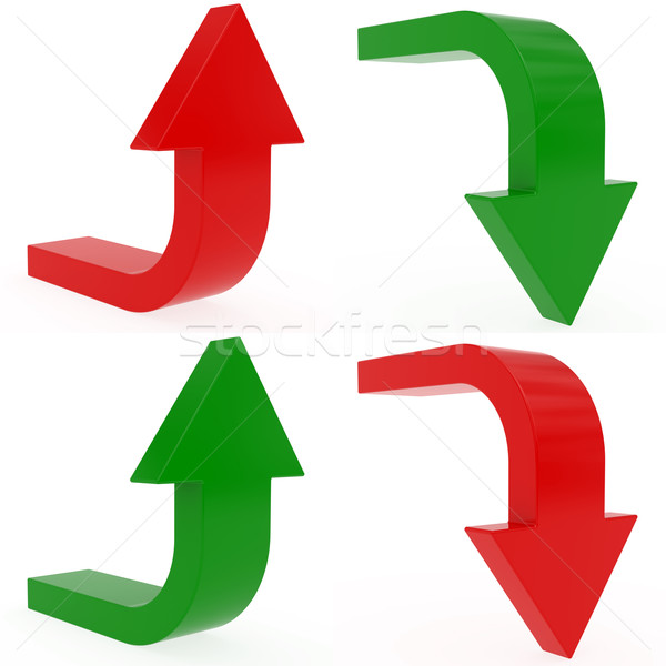 Set of upload and download arrows on white Stock photo © oneo